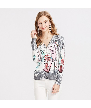 Sweater For Women Elegant Long Sleeve Harajuku Cartoon Print Colorful Cardigans Sweater Jackets Femme Tricot Jersey - As sho...