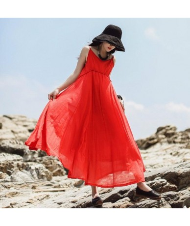 2019 New Vintage Maxi Dress Loose Solid Sleeveless Ankle-length Summer Spaghetti Strap Natural O-neck Women Dress - Red - 4D...