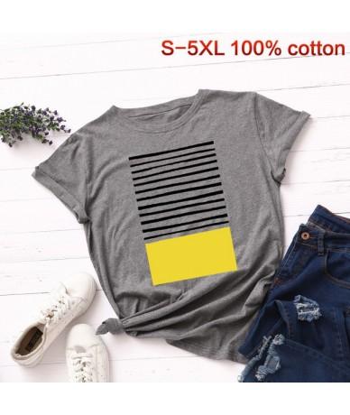 Plus Size S-5XL New Striped Print T Shirt Women 100% Cotton O Neck Short Sleeve Summer T-Shirt Tops Casual Tshirt Women Shir...