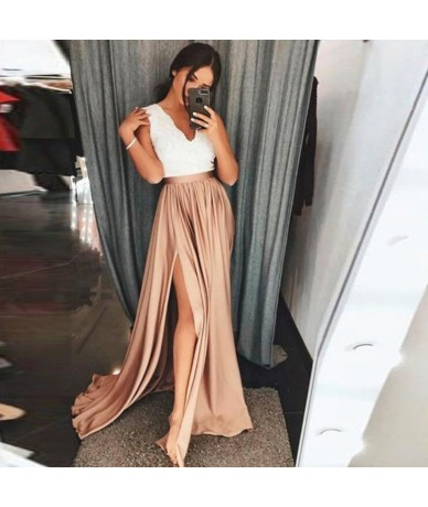 New Champagne Long Party Skirts High Waist Sexy Side Slit Elastic Satin Floor Length Formal Skirts For Women Maxi Skirts Cus...