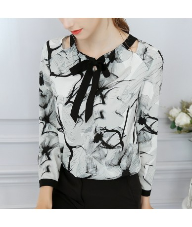 2018 summer new custom color women's shirt bow tie long sleeve ink flower long sleeve chiffon shirt shirt BD1 - BD3 - 483094...