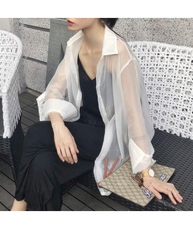 Transparent Blouse Women Sheer Top See Through Shirt Long Sleeve Ladies Tulle Top 2019 Spring Summer Clothing - White - 4H30...