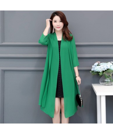 Plus Size 5XL Chiffon Cardigan Women 2019 Spring Summer Thin Long Cardigan Sweater Female Solid Color Cloak With Sashes - Gr...