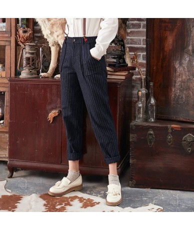 2019 New Autumn Winter Women Pant Retro Striped Thicken Woolen Trousers Embroidered Casual Trousers Harem Pants KA10284D - B...