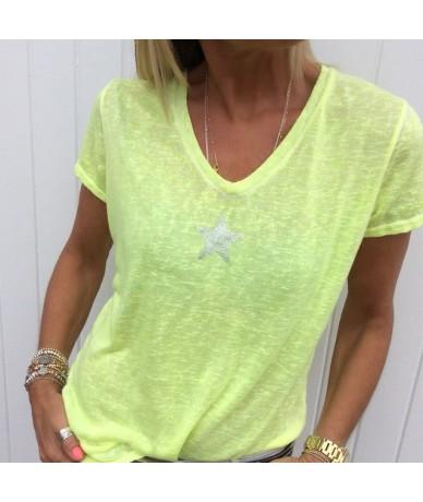 Fashion V-neck Short Sleeve Pentagram Print T Shirt Women 2019 Summer Plus Size 5xl Tops Tshirt T-shirt Tee Shirt Femme S-8X...