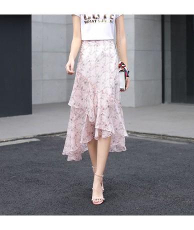 Ruffle Irregual Pink Chic Women Summer Skirt Chiffon Long Casual Floral Printed Asymmetrical Skirts 2426LY - Pink - 40308614...