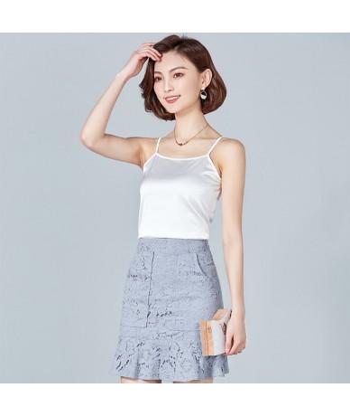 Black Crop Tops Women Camis Roupas Slik Summer Tops Female Sleeveless Camisole Pink Halter Crop Tops Plus Size XXXL - White ...