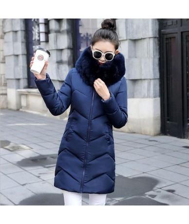 White Women Winter hooded warm coat plus size Fur collar cotton padded jacket female long parka womens wadded jaqueta femini...