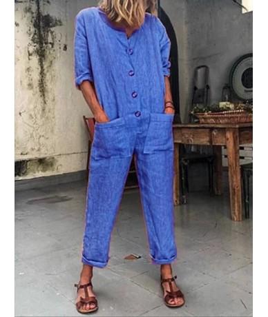 Pockets Long Sleeve Solid Color Jumpsuit Loose Jumpsuit Women Short Sleeve Playsuit Club Wear Female Bodysuit Fashion 2019 N...