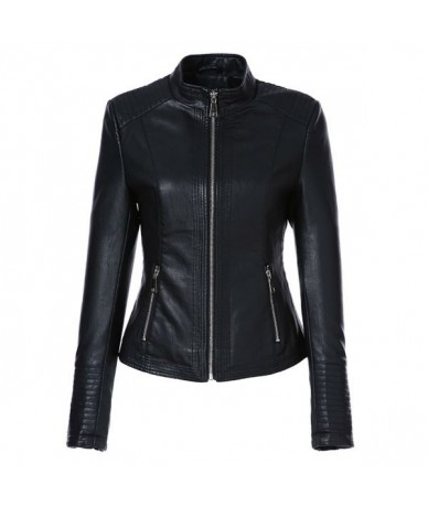 Leather Jacket Women Spring 2019 Black Color Washed PU Leather Short Jacket Mandarin Collar Zippers Slim Ladies Coats - Blac...