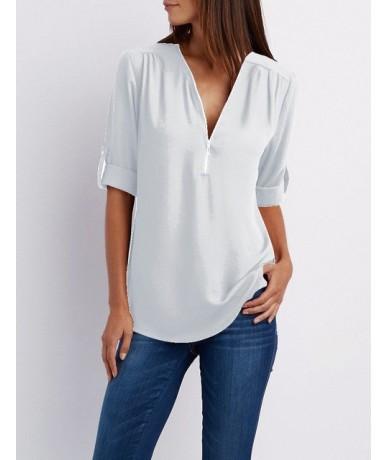 Summer Blouse Women Tops Casual Long Sleeve Chiffon Blouse Shirt V-neck Chemisier Femme Plus Size 5XL Blusas Mujer De Moda 2...