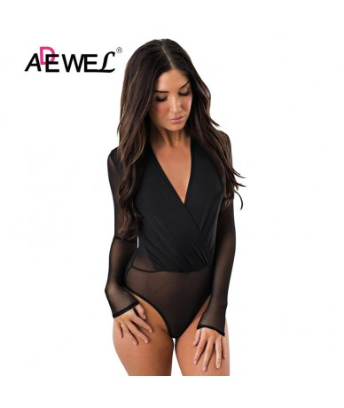 Black Mesh Transparent Women Skinny Long Sleeve Bodysuit Sexy Deep V neck Body Suits Jumpsuit Overalls Mujer Club Wear - Bla...