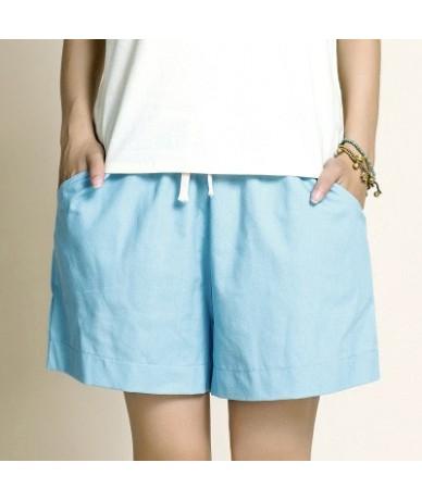 Cotton Linen Elastic Waist Women Shorts Candy Colors Loose Casual Shorts Plus size Women Vintage Shorts Wide Leg Shorts - Sk...