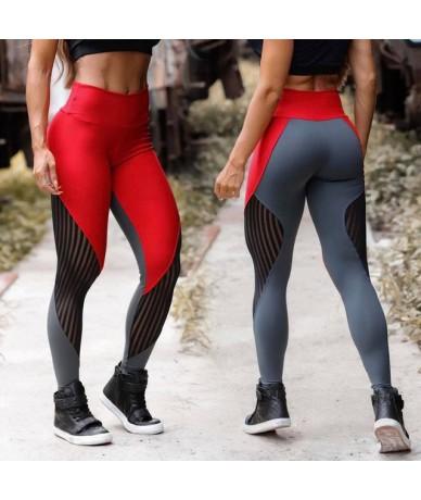 Women Workout Leggings High Waist Push Up Leggings Fashion Ladies Fitness Red Mesh Patchwork Spandex Legging Pants Plus Size...