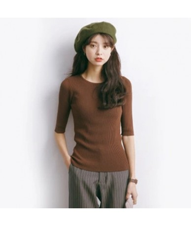 Half Sleeve Knitted Top Women Ribbed Sweater Basic Slim Pullover Jumpers - Yellow - 4A3068979942-5