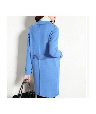 2019 New Arrival 100% Pure Wool Real Cashmere Blend Coat Long Sweater TFP730 - Blue - 4K3765063246-3