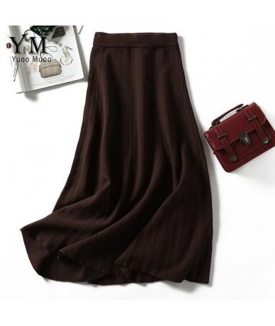 2019 Autumn Winter Fashion Women Elastic High Waist Pleated Skirt Knit A Line Long Skirt Elegant Ladies Festival Skirt - Cof...