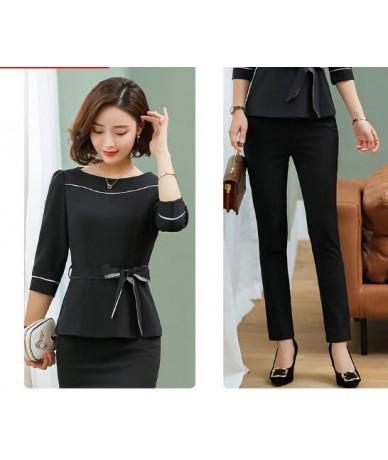 Office clothes 2019 Spring summer women skirt suits egelant ladies formal wear two piece skirt set uniform black - pantsuit ...