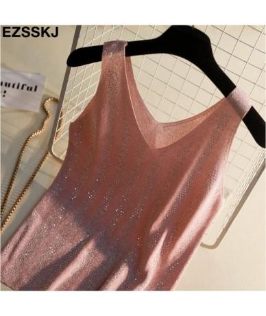 Sexy shiny Knitted tank Top Summer v-neck diamonds Tank top Women Slim Top Female bling sleveless t-shirt Vest Camisole - Pi...