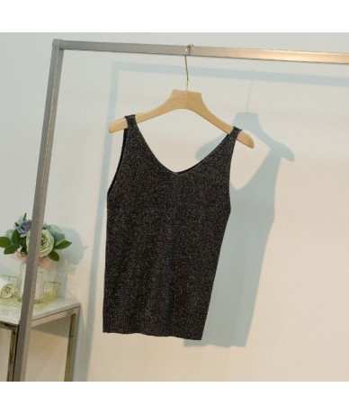 Women Sleeveless Tank Tops Sexy Female V-Neck Knitted Camisole Club Girls Metal Strap Camis Thin Shiny Glitter Bling - 5 - 4...