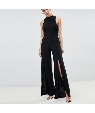 2019 Street Style Simple Commuting Sexy Open Sleeveless Round Neck Solid Color Wide Leg Jumpsuit New Arrival - Black - 4E413...
