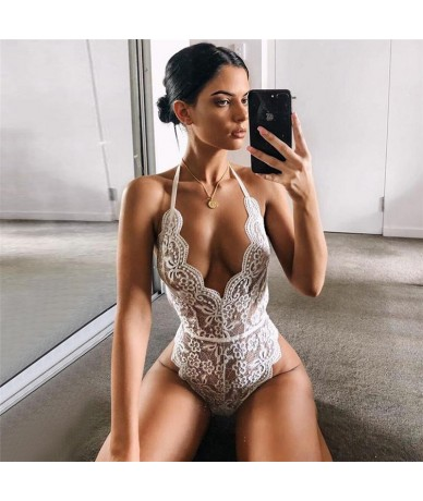 2019 Sexy white bodysuit women backless mesh lace bodysuit Floral Hollow Out bodycon jumpsuit catsuit body overalls for wome...