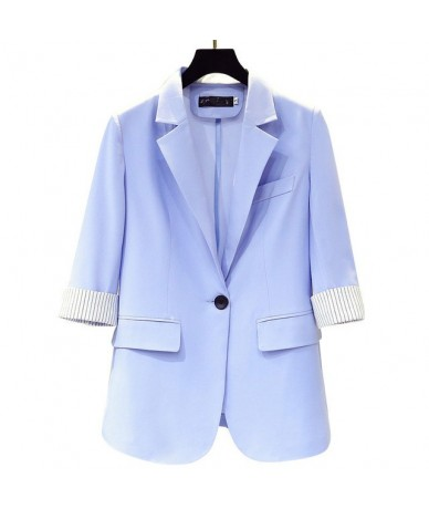 Blazer Women Casual Slim Ladies Blazer Black White Blue Thin Small Suit Jacket Women Office Coat Blazers Chaquetas Mujer C55...