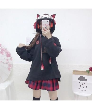 Japanese Style Fox Pattern Hooded Sweatshirts Women Autumn Harajuku Vintage Embroidered Tassel Ear Loose Hoodie Lolita Pullo...