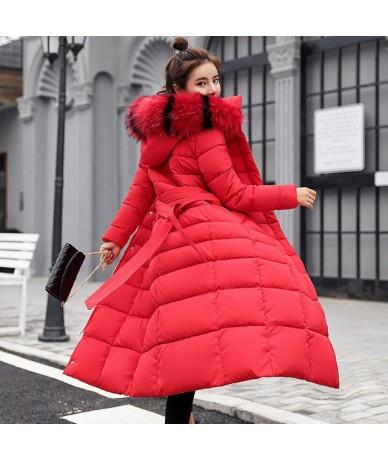 M-3XL Autumn Winter Women Casual Cotton Down Jacket Hoodie Long Parkas Fur Collar Clothes Warm Female Winter Coat 017-902MC1...