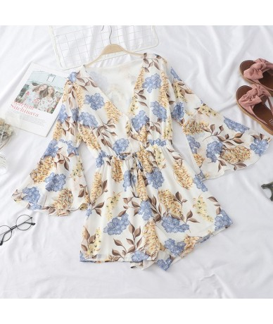 2019 Summer Women V-Neck Rompers Floral Print Chiffon Jumpsuits Flare Sleeve Beach Loose Jumpsuit Playsuit Romper 39048 - wh...