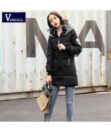 Women Winter Elegant Fur Collar Hooded Coat Long Sleeve Appliques Zipper Fashion Pocket Long Jacket Outwear mujer 2018 - Bla...