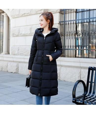 Women X-long Parkas M-6XL Wateproof Windproof -Sintepon winter basic style Solid Slim plus size hooded jacket coat - Black -...