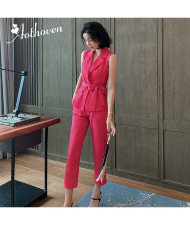 2 Pieces Set Summer Elegant Office Suits For Women Pink Sashes Sleeveless Tops and Calf-Length Pants High-end Suit Workwear ...