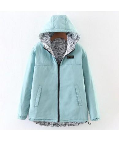 2018 Autumn Winter Women Parkas Mujer Bomber Basic Jackets Two side wear Pattern Coat Outwear Overcoats Windbreaker - Green ...