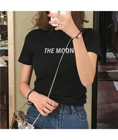 2019 Spring Summer Stand Collar Short T Shirt Tight Stretch Black White Basic Perfect Tees Render Unlined Upper Garment - Bl...