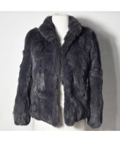 2019 High Quality Real Fur Coat Fashion Genuine Rabbit Fur Overcoats Elegant Women Winter Outwear Stand Collar Rabbit Fur Ja...