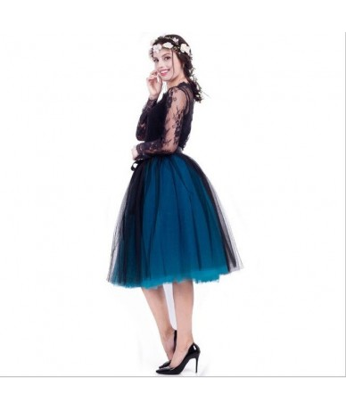 7 Layers 65cm Long Princess Mix Colors Tutu Tulle Skirts Fashion Ball Gown Lolita Skirt Women Summer Saias Femininas faldas ...