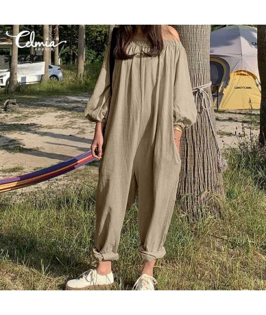 Women Cotton Linen Solid Jumpsuits Casual Pockets Loose Pleated Rompers Plus Size Sexy Off Shoulder Playsuits Long Pants - K...
