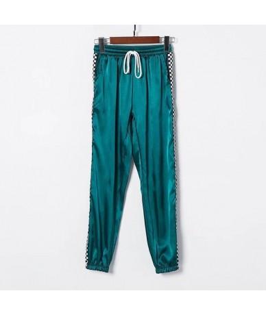 Patchwork Checkerboard Ribbon Pants Womens Casual Loose Joggers Trousers High Waist Sweatpants Streetwear Harem Pants - Gree...
