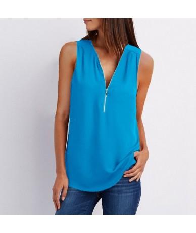 Summer Chiffon Tank Tops Women Tunic Zipper V Neck Vest Tops Sexy Sleeveless Loose Vests Ladies Shirt Tops Plus Size 5XL EF6...