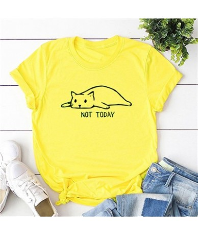 Funny Women T-shirt Not Today Cartoon Cat Letters Print Slogan tshirts Cotton Round Neck Short Sleeve Casual Plus Size Tops ...