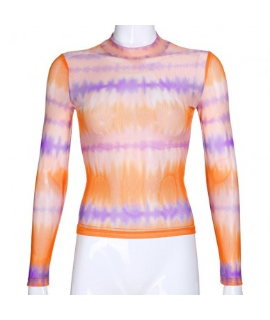 New Fashion Rainbow See Through Mesh T-shirts Turtleneck Print Long Sleeve Tops Color Blocking Casual Tops Women - rainbow -...