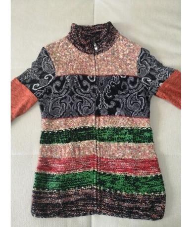 Six Items Ladies Cardigan Long Sleeve Ethnic Knitted Zipper Sweater Coat Patch Mesh Print Women Cardigans Slim Luxury Europe...