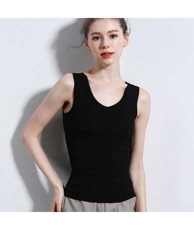 White Lace Tank Top Vest Women V Neck Cotton Basic Solid Summer Tops For Women 2019 Sleeveless Female Femme Tops - Black - 4...