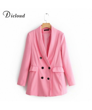 Fashion Pink Long Blazer Women Long Sleeve Autumn Winter Double Breasted Jacket With Pockets Office Blazer Ladies - pink - 4...