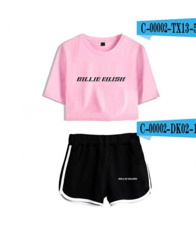 Summer Women's Sets KPOP Billie Eilish Short Sleeve Crop Top + Shorts Sweat Suits Women Tracksuits Two Piece Outfit Streetwe...