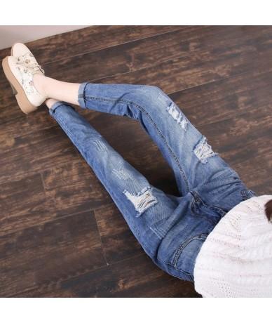 2019 Summer Autumn Vintage Ripped Holes Boyfriend Jeans For Women High Waist Harem Jeans Woman Denim Pants - 716 deep - 4B39...