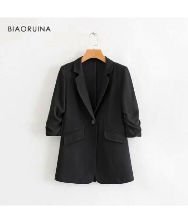 Women Fashion Solid Blazer Pleated Three Quarter Sleeve Notched Collar Women's Vintage Elegant Single Button Blazer - Black ...