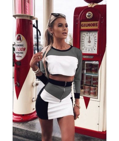 Two Piece Set Outfits Sexy Women Long Sleeve Crop Tops + Biker Short Mini Skirt Set Clubwear Sweatsuit Matching Sets - Gray ...