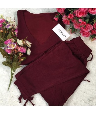 Women Tracksuit 2 two Pieces Set Knitted Pullover Sweaters Tops Deep V-neck Long Sleeve Sweatshirt + Pants Women's Sets - wi...